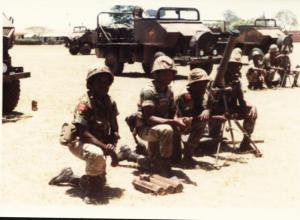 81mm Pl, Sp Coy, 1RAR 1981. Scorpion MAP Mortar carriers(Note shoulder patches)