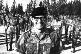 Maj. Barry Getliffe, OC A Coy 1RAR on parade at Methuen Barracks - 1977